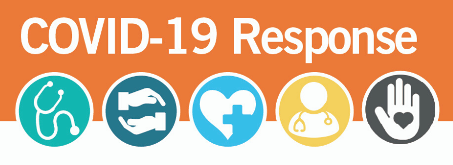 COVID-19 Response Banner with Health Care Icons