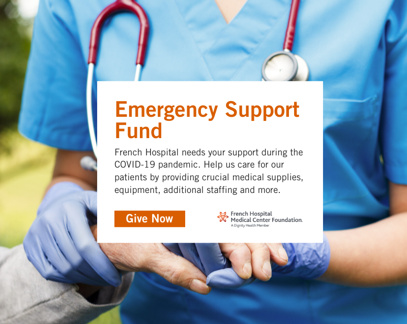 Emergency Support Fund PopUp Box with Image of Nurse and Patient