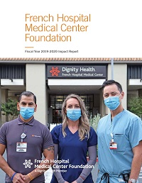 FY20 Impact Report Cover featuring three French Hospital staff members and caregivers in masks