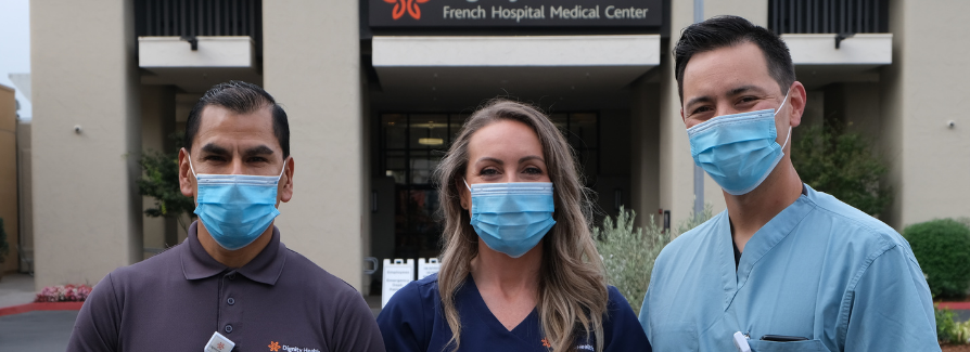 Impact Report Cover image - Food service worker, nurse and physician standing in front of French Hospital