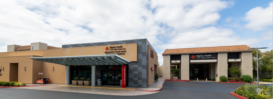 Main entrance of French Hospital Medical Center and entrance to the Oppenheimer Family Center of Emergency Medicine