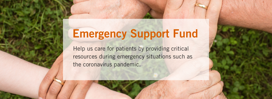 Emergency Support Fund Image with Hands Held in Background